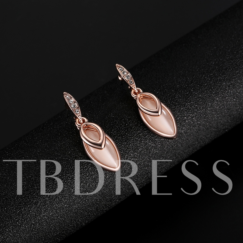 Simple Pink Alloy Rhinestone Inlaid Water Drop Jewelry Sets