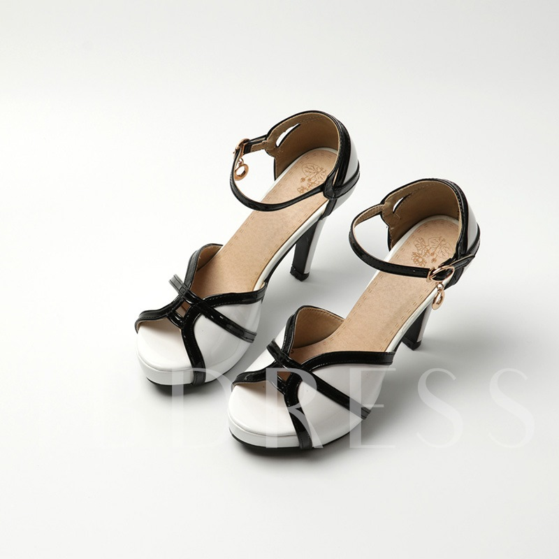 Peep Toe Color Block Stiletto Heel Women's Sandals