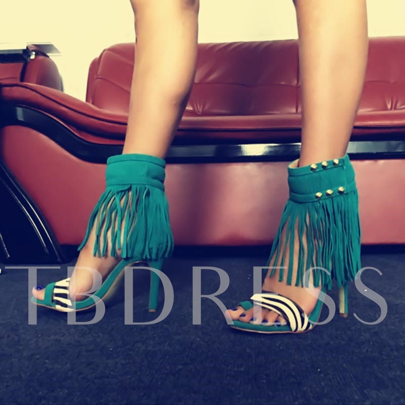 Fringed High Cut Stiletto Heel Women's Sandals