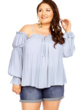 Plus Size Lantern Sleeve Women's Blouse