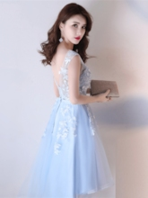 A-Line Appliques Straps Bowknot Sashes Asymmetry Homecoming Dress