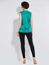 Solid Color Sleeveless Chiffon Women's Blouse