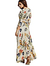 V Neck Beige Women's Maxi Dress