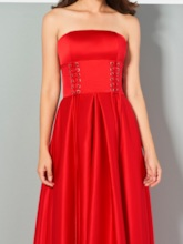 Ruched A-Line Strapless Sleeveless Ankle-Length Evening Dress