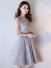 Lace A-Line Appliques Scoop Cap Sleeves Short Homecoming Dress