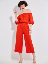 Plain Ankle Length Wide Legs Women's Jumpsuit