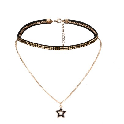 Pentagram Rivet Alloy Velvet Rope Necklace