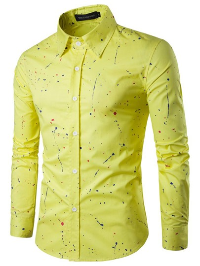 Splashed Print Single-Breasted Men's Casual Shirt