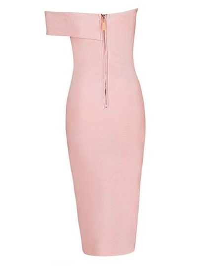 Asym Sleeveless Zipper Slim Plain Women's Sheath Dress