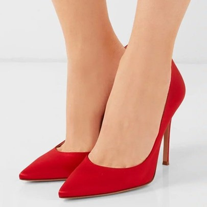 Silk Fabric Pointed Stiletto Heel Women's Pumps