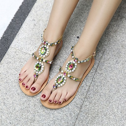 Rhinestones Flat With Women's Thong Sandals
