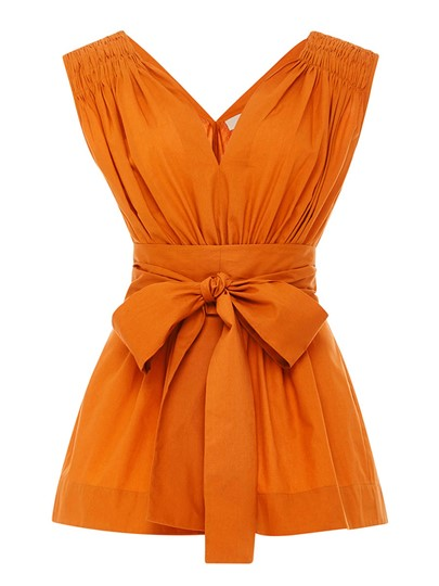 V-Neck Bow Knot Plain Sleeveless Women's Blouse