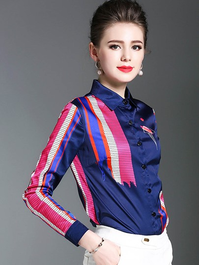 Color Block Lapel Chic Button Up Women's Shirt