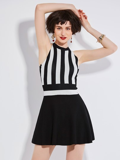 Backless Stripe Color Block Women's Day Dress