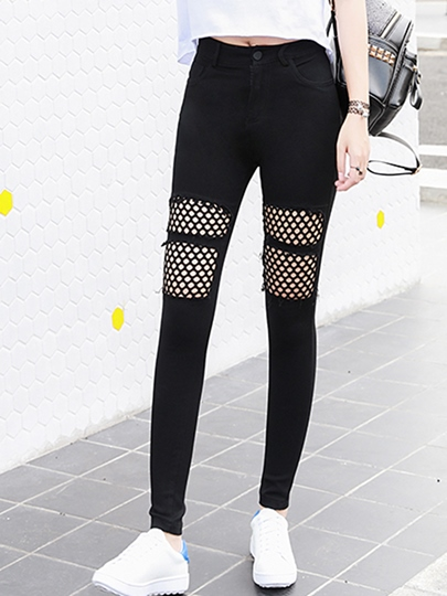 Plain Mesh Hollow Patchwork Women's Leggings