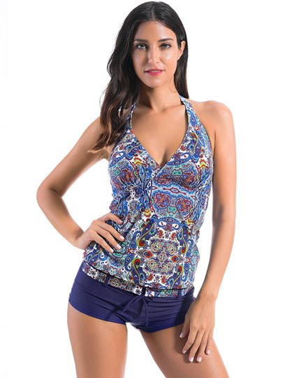 Lace-Up V-Neck Floral Tankini Set