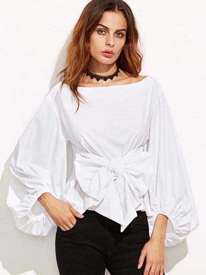 Big Bow Knot Plain Drop Shoulder Lantern Sleeve Women's Blouse