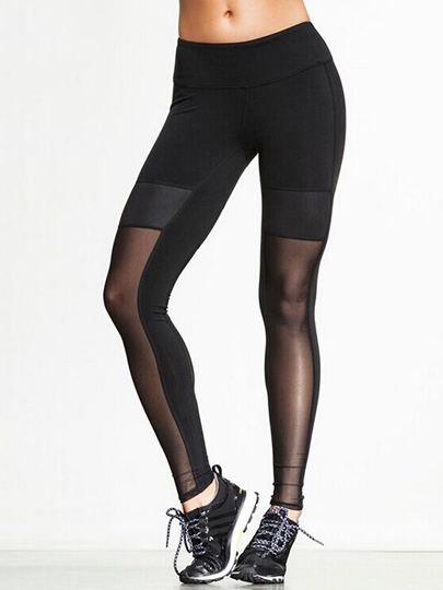 Half See Through Elastic Women's Yoga Leggings