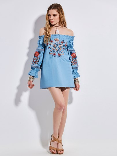 Slash Neck Floral Embroideried Women's Blouse