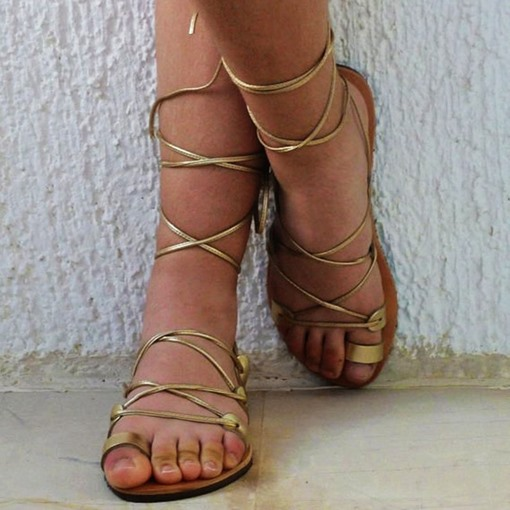Cross Strap Toe Ring Flat Sandals Metallic Shoes