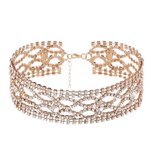 Hollow Out Diamante Rhinestone Alloy Wide Torques Choker Necklace