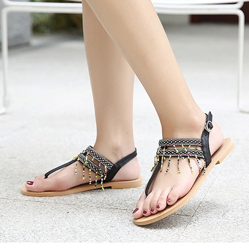 Roman Beads Flat With Women's Thong Sandals