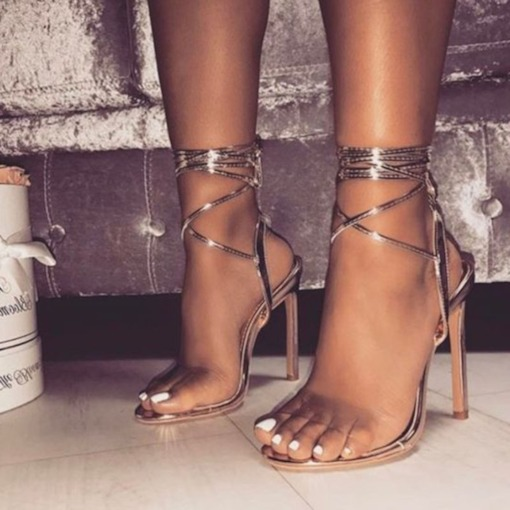 Lace-up offene Zehe Stilett Fersensandalen