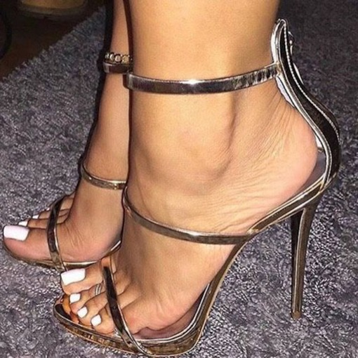 Zipper Open Toe Stiletto Heel Sandals