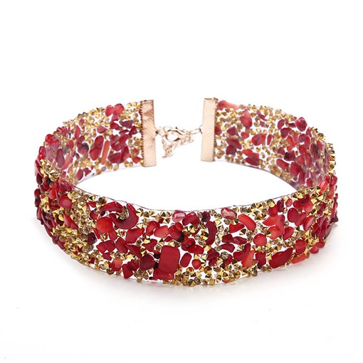 Popular Red Rhinestone Inlaid Choker Necklace