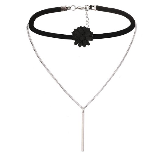 Velvet Floral Alloy Pendant Choker Necklace
