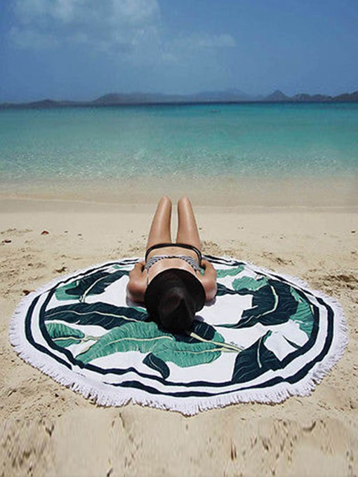 Leaf Print Tassel Round Beach Throw