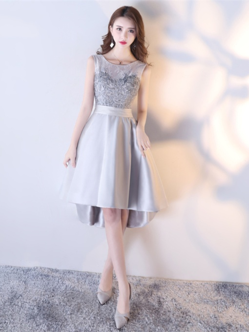 Asymmetry Embroidery A-Line Scoop Lace Sashes Homecoming Dress