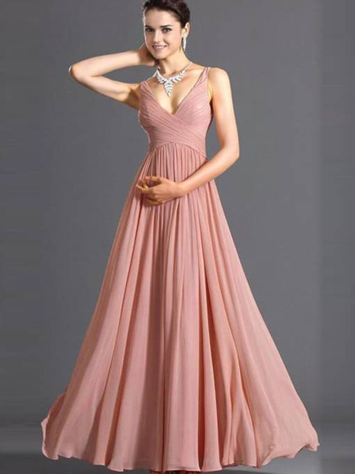Pink Strappy Chiffon Women's Maxi Dress