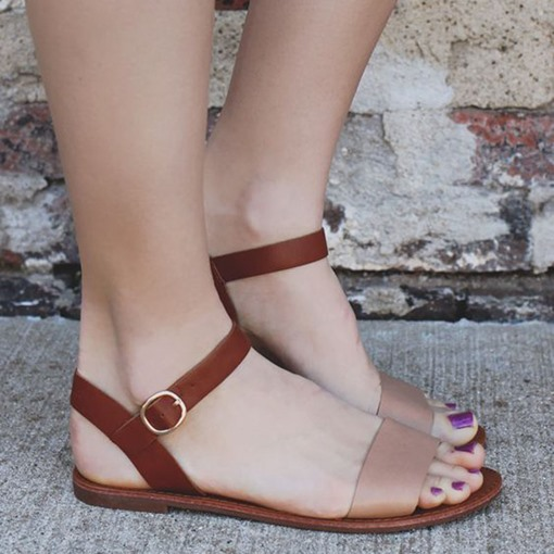 Open Toe Ankle Strap Flat Sandals