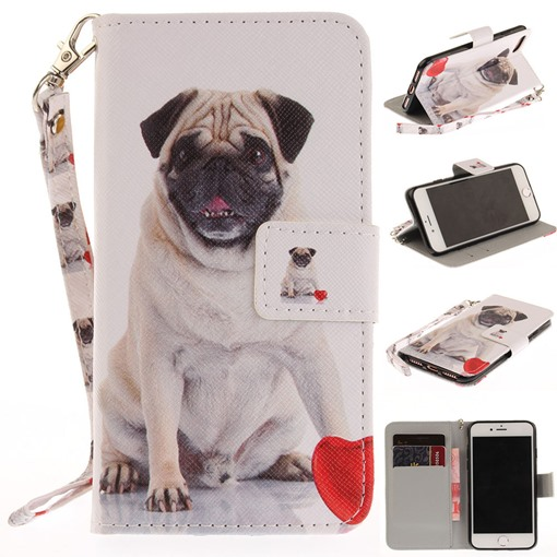 iPhone 8/8Plus/7/7 Plus/6/6 Plus Stand Flip Wallet Case with Foolish Shar Pei Dog Pattern