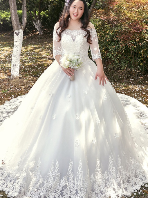 Half Sleeve Plus Size Wedding Dress