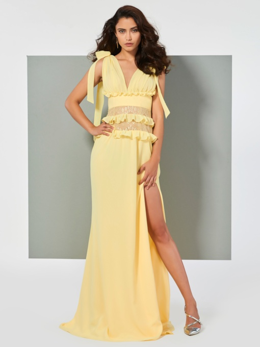 A-Line Split-Front Ruffles V-Neck Court Train Evening Dress