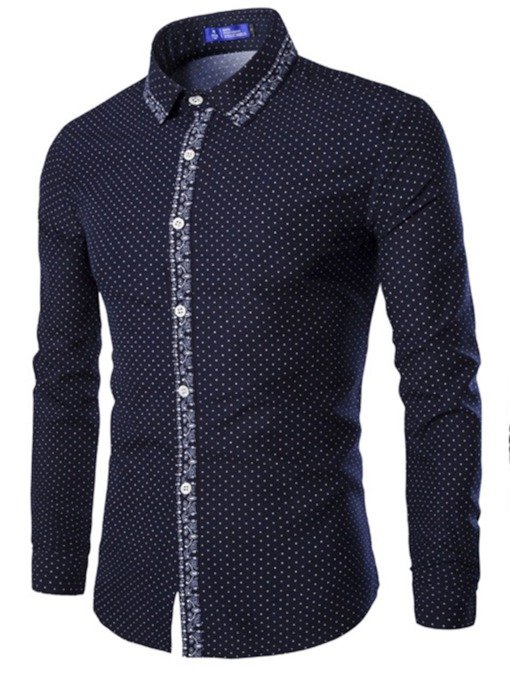 Spots Straight Lapel Leisure Men's Shirt