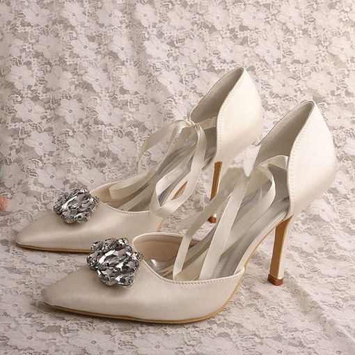 Decorative Rhinestone Pointed Heel Women's Prom Shoes