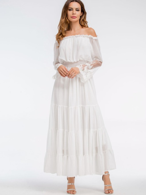 White Off Shoulder Elastical Waist Women's Maxi Dress