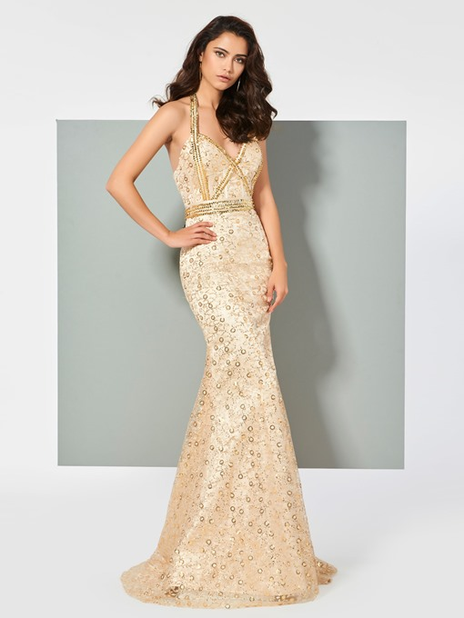 Halter Trumpet Lace Sequins Prom Dress
