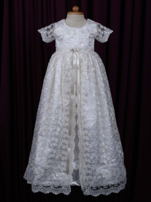 Lace Applique Long Christening Gown for Baby Girls
