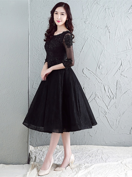 A-Line Scoop Appliques Beading Lace Tea-Length Evening Dress