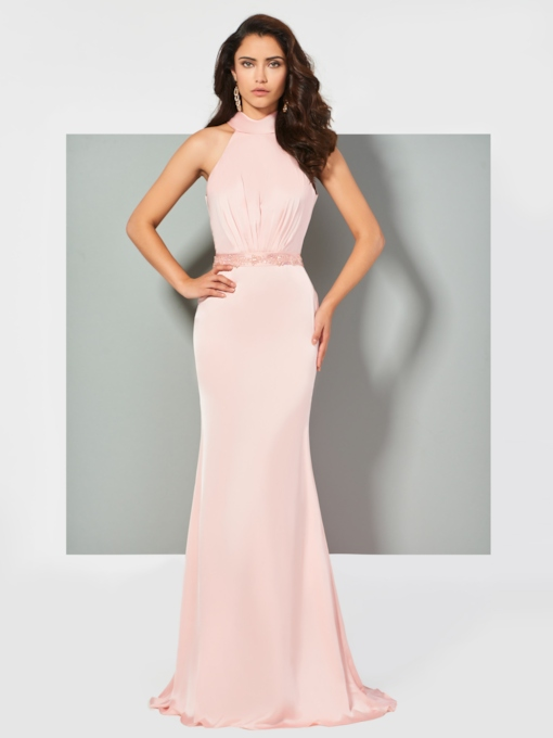 Mermaid Beading Sleeveless Bowknot Floor-Length Evening Dress