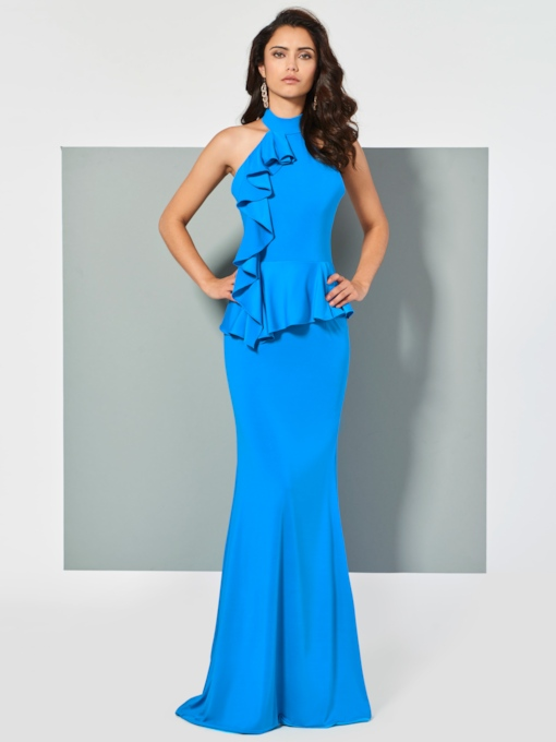 Halter Backless Ruffles Mermaid Sleeveless Sweep Train Evening Dress