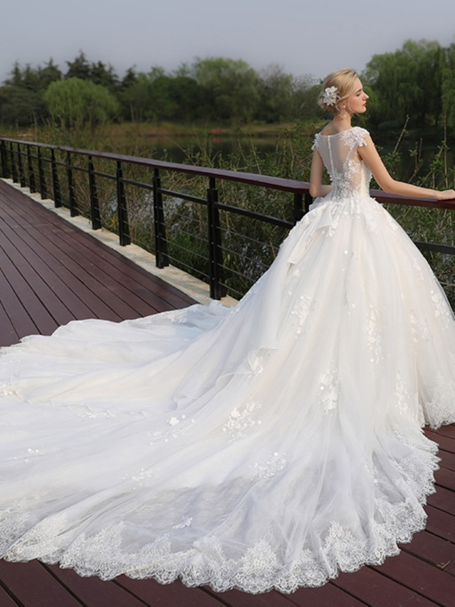 V-Neck Appliques Button Chapel Train Wedding Dress