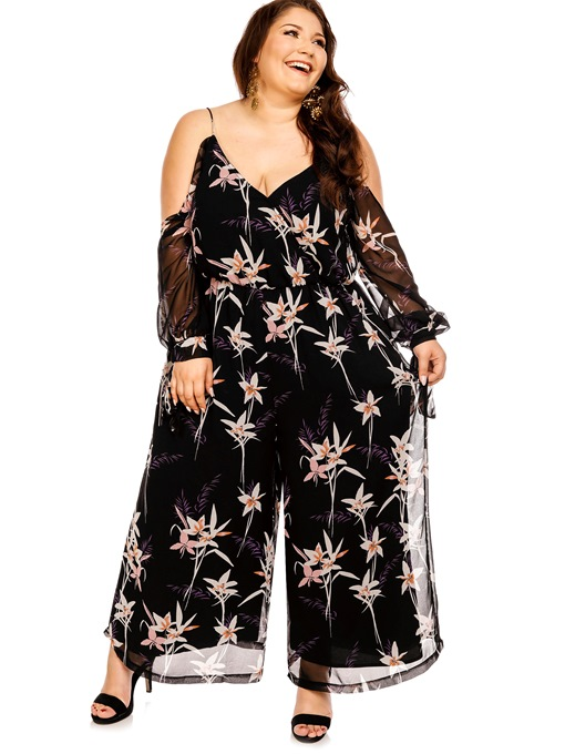 Flower Print Backless Plus Size See-Through Women's Jumpsuit