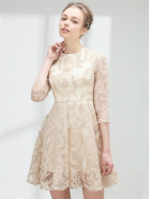 Jewel A-Line Lace 3/4 Length Sleeves Homecoming Dress