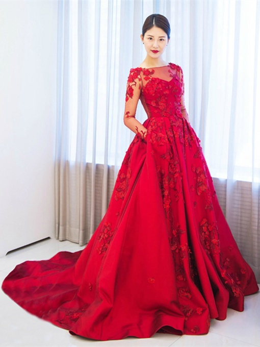 Long Sleeves A-Line Appliques Off-the-Shoulder Court Train Evening Dress