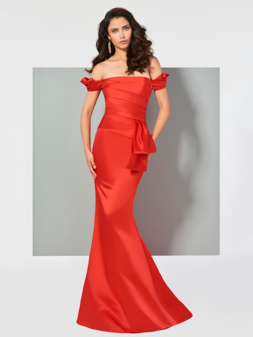 Mermaid Ruched Short Sleeves Off-the-Shoulder Sweep Train Evening Dress